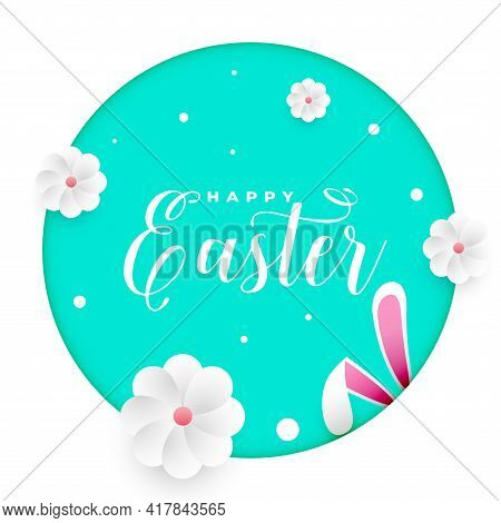 Easter Greeting Card With Peeping Bunny Rabbit Design Vector Illustration