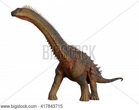 Alamosaurus Dinosaur Walking 3d Illustration - Alamosaurus Was A Herbivorous Titanosaur Sauropod Tha