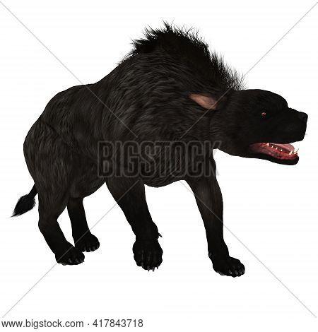 Black Warhound Walking 3d Illustration - The Warhound Also Called Hellhound Is The Mythical Dog That