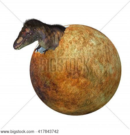 Hatching T-rex Egg 3d Illustration - A Baby Tyrannosaurus Rex Dinosaur Hatches Out Of An Egg During