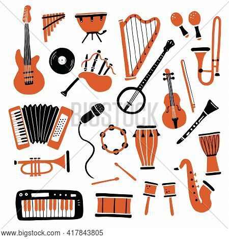 Hand Drawn Set Of Different Types Musical Instrument, Guitar, Saxophone. Doodle Sketch Style. Isolat