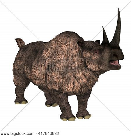 Woolly Rhino Over White 3d Illustration - The Woolly Rhinoceros Was A Herbivorous Mammal That Lived
