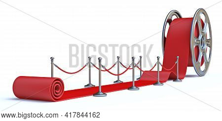 Cinema Film Roll And Red Carpet Front View 3d Render Illustration Isolated On White Background