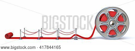 Cinema Film Roll And Red Carpet Side View 3d Render Illustration Isolated On White Background