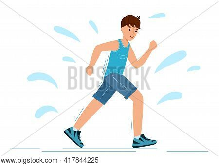 Young Guy Runs In Training And Sweats. Man Is Jogging On A White Background.