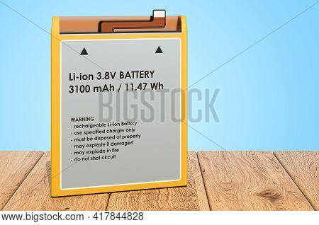 Lithium Ion Cell Phone Battery On The Wooden Planks, 3d Rendering
