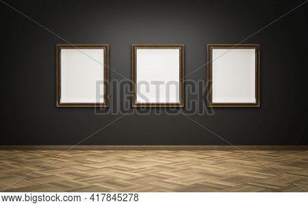 Empty Blank Picture Frames In Art Gallery Exhibition On Dark Wall And Wooden Floor 3d Render Illustr