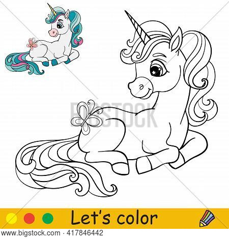 Cute Cartoon Unicorn With A Butterfly. Coloring Book Page With Colorful Template. Vector Cartoon Iso