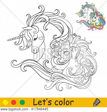 Cute Heads Of Two Unicorns In Profile. Coloring Book Page With Colorful Template. Vector Cartoon Iso