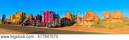 Northern Territory, Australia - August 12, 2019: Kenworth Truck Of Clein Group Crossing The Karlu Ka