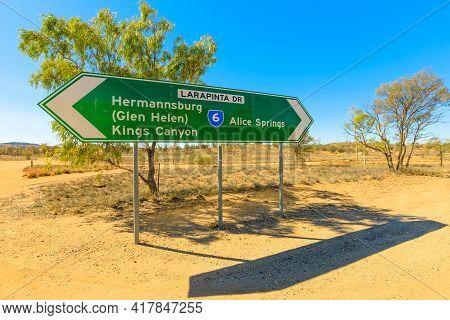 Northern Territory, Australia Outback. Larapinta Drive Signboard Direction Kings Canyon, Hermannsbur