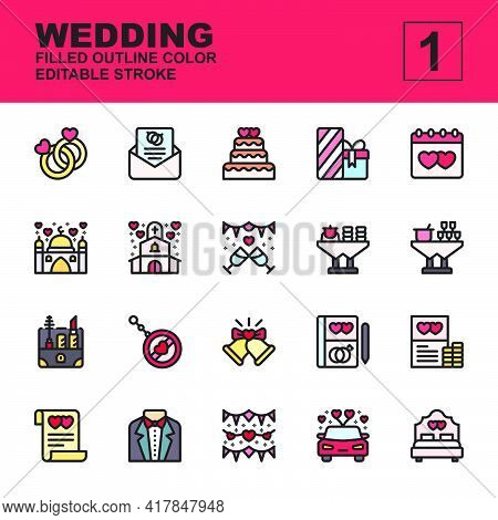 Icon Set Wedding Made With Filled Outline Color Technique, Contains A Ring, Invitation, Gift, Souven