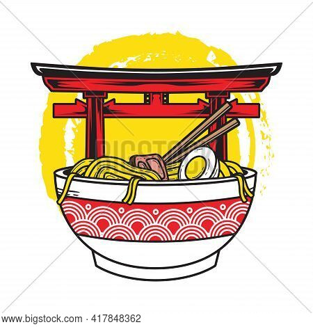 Vector Illustration Of Delicious Japanese Ramen Noodle On Bowl With Torii Gate Background