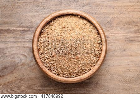Fresh Breadcrumbs In Bowl On Wooden Table, Top View