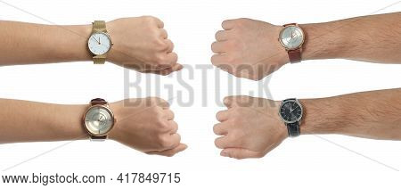 Collage With Photos Of People Wearing Wristwatches On White Background, Closeup. Banner Design