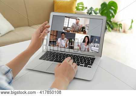 Human Resources Manager Conducting Online Job Interview Via Video Chat