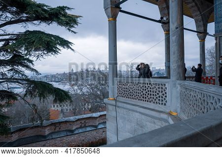 Fatih, Istanbul, Turkey - 04.05.2021: Visitors Taking Photos In Balcony Of Topkapi Palace Museum Nea