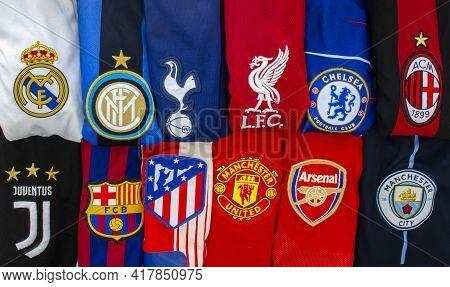 Chamartín, Madrid, Spain. April 19, 2021. Horizontal View Of The Super League Or European Super Leag