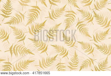 Seamless Pattern With Leaves Backgrounds, Golds Fern  Background, Seamless Pattern With Fern, Set Sa