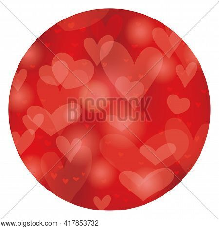 Valentine's Day And Bridal Vector Abstract Round Background. Easy To Use Illustration Isolated On A
