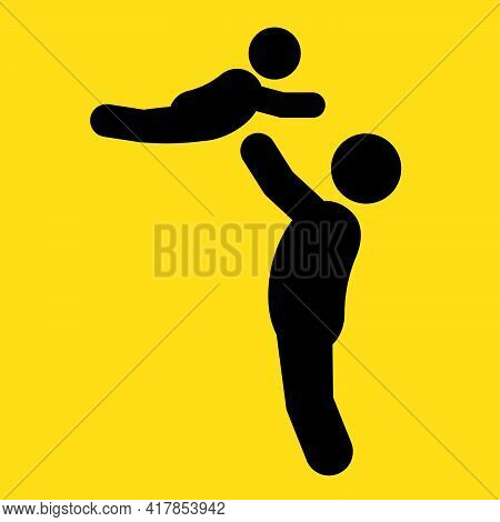 Father And Son Silhouette Vector Illustration. Father's Day Concept, Happy Father's Day, On A Yellow