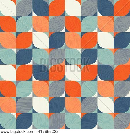Seamless Abstract Geometric Pattern. Retro Bauhaus Design Of Circles, Squares And Textures. Use For