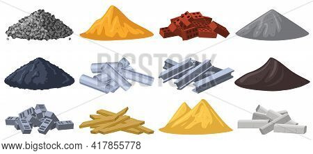 Construction Materials. Building Material Piles, Gravel, Sand, Bricks And Crushed Stone Piles. Heaps