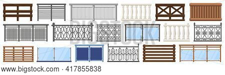 Balcony Railing. Metal, Wooden And Stone Decorative Balcony Fences, Terrace Fencing Isolated Vector