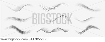 Dotted Halftone Waves. Abstract Liquid Shapes, Wave Effect Dotted Gradient Texture Waves Isolated Ve