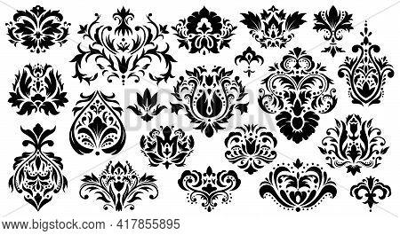 Damask Floral Ornament. Vintage Rococo Ornaments, Baroque Figured Decorative Elements Vector Illustr