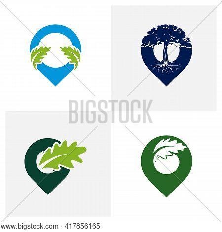 Set Of Point Oak Leaf Logo Design Vector Illustration, Creative Oak Tree Logo Design Concept Templat