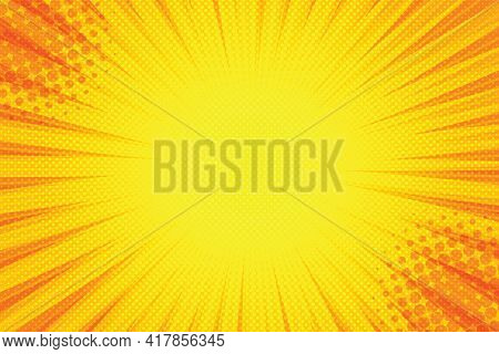 Yellow Background Of The Comic Style Pop Art Superhero. Pop Art Yellow Cartoon  For Comic Superhero