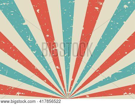 Sunlight Retro Grunge Background. Red, Beige And Blue Color Burst Background. Vector Illustration. S