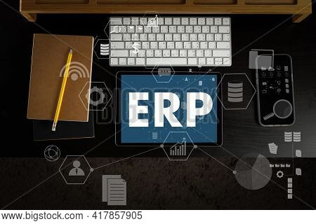 Erp As Emergency Response Procedures Thoughtful Male Person Looking To The Digital Tablet Enterprise