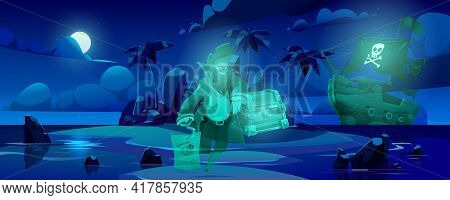 Pirate Ghost On Haunted Island, Spooky Dead Filibuster Captain Spirit With Hook Hand And Wooden Leg