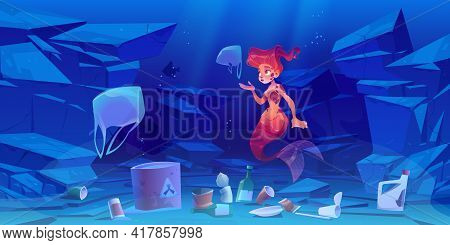 Cute Mermaid On Polluted Ocean Bottom With Plastic Trash And Toxic Waste. Underwater Cartoon Charact