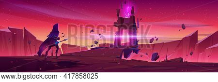 Wizard Walk To Magic Portal In Stone Frame On Mountain Landscape At Sunrise. Vector Cartoon Fantasy