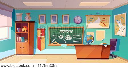 Classroom Of History Empty Interior, School Class Room With Teacher Table, Green Blackboard With Sch