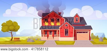 Fire In House, Burning Two-storey Suburban Cottage, Flame With Long Tongues In Real Estate Countrysi