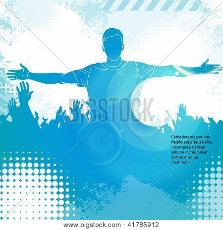 Crowd in front of a stage. Vector