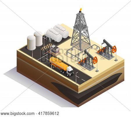 Oil Petroleum Extraction Transportation Production Industry Isometric Composition  With Pump Jacks D