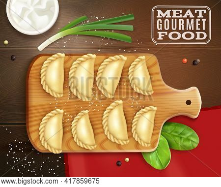 Realistic Meat Gourmet Food Composition With Top View Of Wooden Plate With Dumplings Salt And Greens