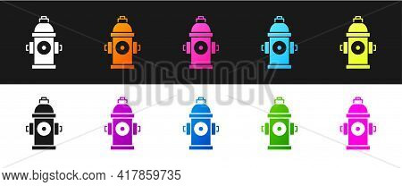 Set Fire Hydrant Icon Isolated On Black And White Background. Vector