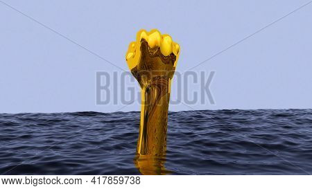 Surreal Vaporwave Concept With Golden Hand Gesturing With Fist From Underwater. Blue Sea Or Ocean Wi