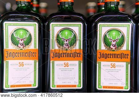 Tyumen, Russia-april 21, 2021: Jagermeister Is A German Strong Alcoholic Drink Elite Level With The