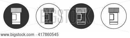 Black Medicine Bottle And Pills Icon Isolated On White Background. Bottle Pill Sign. Pharmacy Design