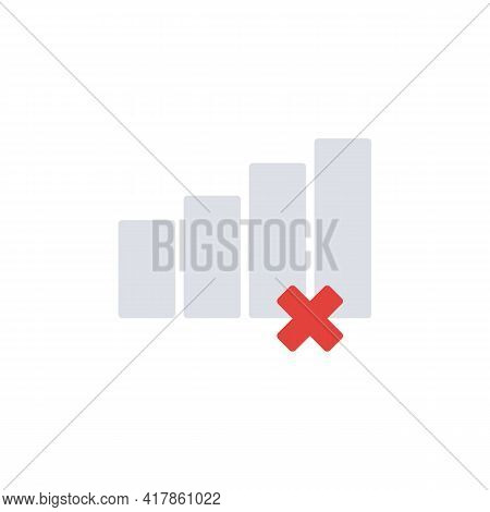 Gsm Network Problem Flat Icon, Mobile Signal Lost Vector Sign, Colorful Pictogram Isolated On White.