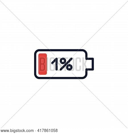 1 Percent Battery Charge Flat Icon, Low Battery Power Level Vector Sign, Colorful Pictogram Isolated