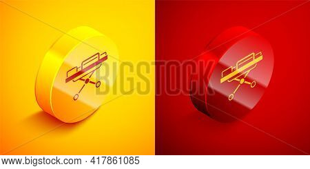 Isometric Stretcher Icon Isolated On Orange And Red Background. Patient Hospital Medical Stretcher.