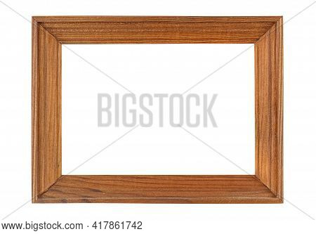 Empty Simplicity Brown Wooden Frame For Artwork Or Photo Isolated On White Background